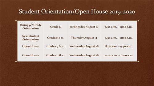 Student Orientation/Open House 2019-2020