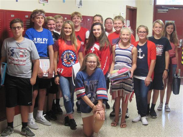 Students dress in red, white and blue