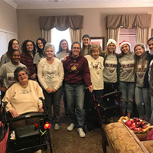 Poquoson High School Lady Islanders visited Dominion Village